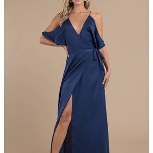 Blue Silk Wrap Dress